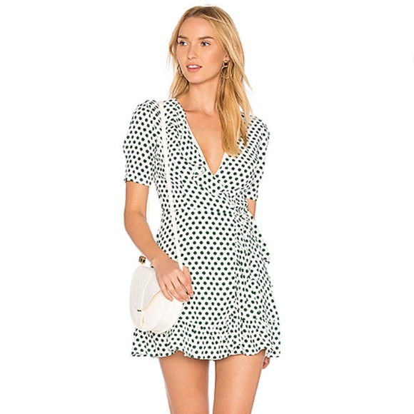 Privacy Please Dresses & Skirts - White and Green Polka Dot Wrap Dress